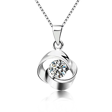 cheap Crystal Necklaces-Women's Crystal Pendant Necklace Solitaire faceter Ladies Fashion Bling Bling Sterling Silver Crystal Silver Silver Necklace Jewelry For Party Daily Casual