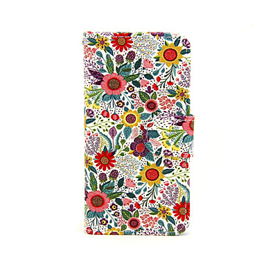 Capinha Para iPhone X iPhone 8 Capinha iPhone 5 Carteira Porta-Cartão Com Suporte Flip Estampada Corpo Inteiro Flor Rígida Couro Ecológico