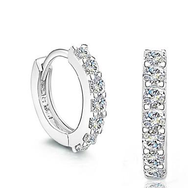 Homens Mulheres Brincos Curtos Diamante sintético Fashion Prata de Lei Cristal Prateado Imitações de Diamante Jóias Casamento Festa Diário
