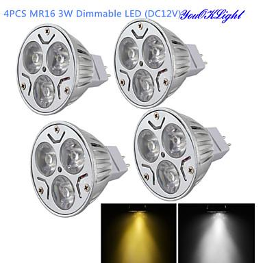 YouOKLight 300 lm GU5.3 (MR16) LED-spotlampen MR16 3 leds Krachtige LED Dimbaar Decoratief Warm wit Koel wit DC 12V