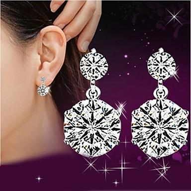 Dames Druppel oorbellen Synthetische Diamant Luxe leuke Style Sterling zilver Kristal Strass Zilver Sieraden Bruiloft Feest Dagelijks