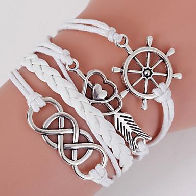 Heren Dames Leder Wikkelarmbanden - Meerlaags LOVE Wit Armbanden Voor Dagelijks Causaal Sport