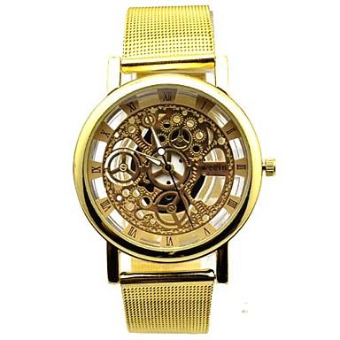 Masculino Relógio de Moda Quartzo Aço Inoxidável Banda Dourada Dourado