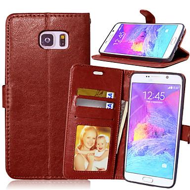 voordelige Galaxy Note-serie hoesjes / covers-hoesje Voor Samsung Galaxy Note 5 / Note 4 / Note 3 Portemonnee / Kaarthouder / met standaard Volledig hoesje Effen PU-nahka