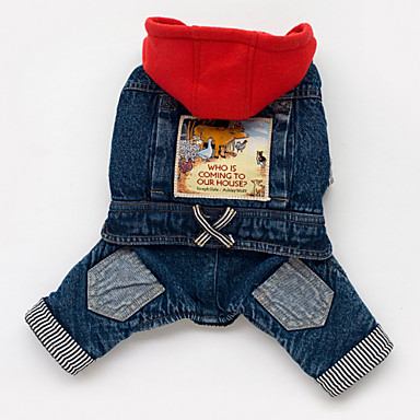 cheap Dog Clothing & Accessories-Dog Hoodie Denim Jacket / Jeans Jacket Dog Clothes Jeans Blue Cotton Costume For Bulldog Shiba Inu Pug Spring &  Fall Men's Women's Cowboy