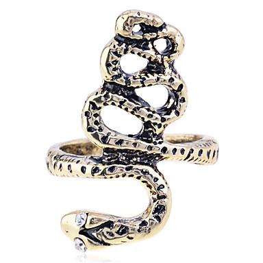Maxi anel Prata Chapeada Chapeado Dourado imitação de diamante Cobra Prata Dourado Jóias Festa Diário Casual 1peça