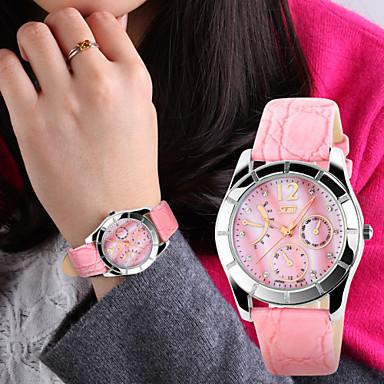 Dames Modieus horloge Kwarts Leer Band Wit Blauw Roze Wit Blauw Roze