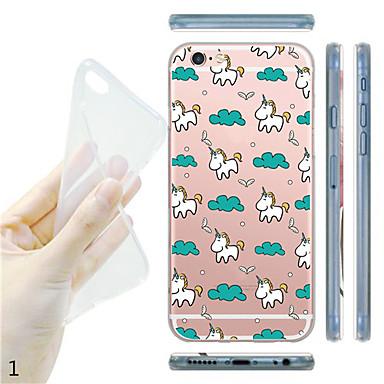 voor de iPhone 7 maycari® eenhoorn gelukkig leven zachte transparante TPU achterkant van de behuizing voor de iPhone 6s 6 plus