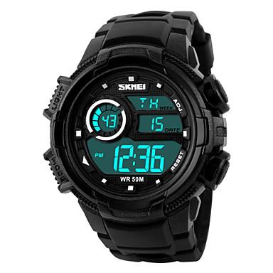 Masculino Relógio Esportivo Relógio de Pulso LED Calendário Cronógrafo Impermeável alarme Relógio Esportivo Digital PU Banda Preta