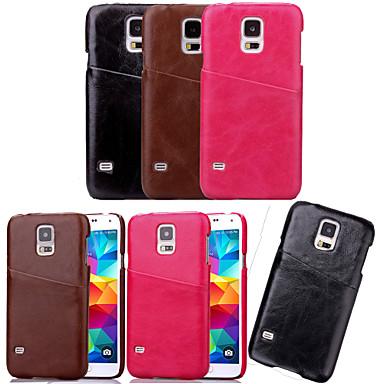 Capinha Para Samsung Galaxy Samsung Galaxy Capinhas Porta-Cartão Capa traseira Côr Sólida PU Leather para S5 Mini S5 S4