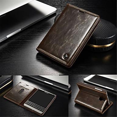 케이스 제품 블랙베리 블랙베리 케이스 카드 홀더 스탠드 플립 전체 바디 케이스 한 색상 하드 진짜 가죽 용