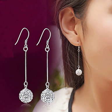Heren Dames Kristal Synthetische Diamant Sterling zilver Kristal Zilver Gesimuleerde diamant Druppel oorbellen - Luxe Klassiek Modieus