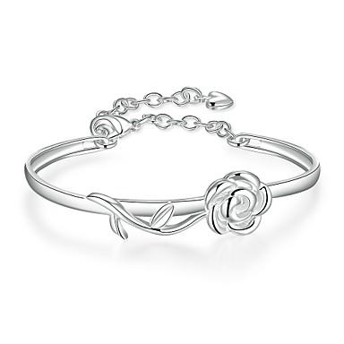 Női Elbűvölő karkötők Karperecek Európai Réz Ezüstözött Rózsák Virág Ékszerek Parti Napi Hétköznapi Sport Jelmez ékszerek