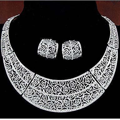 여성 보석 세트 빈티지 파티 패션 파티 특별한 때 생일 라인석 은 도금 로즈 골드 도금 모조 다이아몬드 합금 장미 꽃장식 목걸이 귀걸이