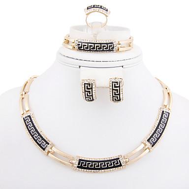 Dames Verguld Gesimuleerde diamant Sieraden set Armband Oorbellen Kettingen Ring - Luxe Vintage Schattig Feest Informeel Modieus Bangle