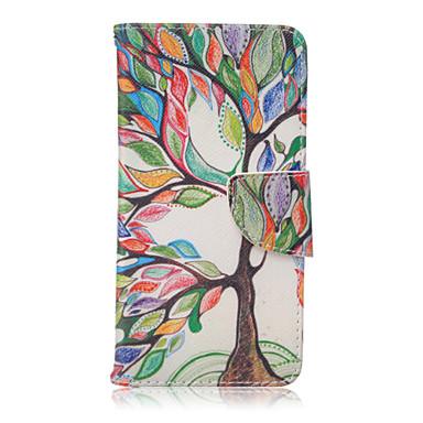 Para Samsung Galaxy Capinhas Case Tampa Porta-Cartão Com Suporte Flip Estampada Magnética Corpo Inteiro Capinha Árvore Couro Ecológico