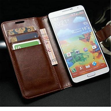 voordelige Galaxy Note-serie hoesjes / covers-hoesje Voor Samsung Galaxy Note 3 Portemonnee / Kaarthouder / met standaard Volledig hoesje Effen PU-nahka
