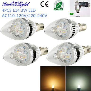 E14 LED-kaarslampen C35 3 leds Krachtige LED Decoratief Warm wit Koel wit 260lm 3000/6000K AC 220-240 AC 110-130V