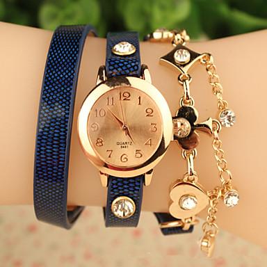 Dames Modieus horloge Armbandhorloge Kwarts Roos verguld Leer Band Bloem Zwart Blauw Rood Zwart Rood Blauw