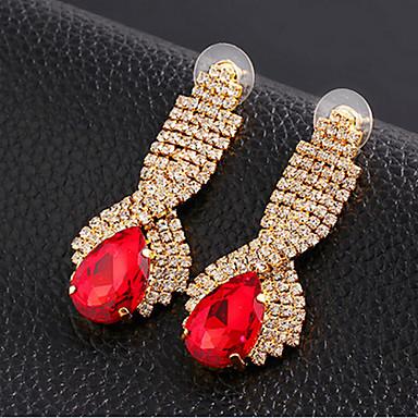 Feminino Brincos Compridos Jóias de Luxo Pedras preciosas sintéticas Zircônia Cubica Imitações de Diamante Liga Caído Jóias Para