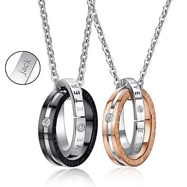 presente do dia de aço de titânio ouro / colar preto personalizado dos namorados jóias de amantes (um par)