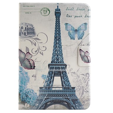 parijs toren gekleurde tekening of patroon pu lederen folio geval tablet holster foripad mini 4
