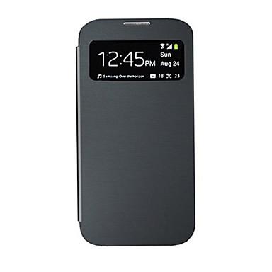 Pentru Samsung Galaxy Carcasă cu Fereastră / Auto Sleep / Wake / Întoarce Maska Corp Plin Maska Culoare solida PU piele Samsung S4