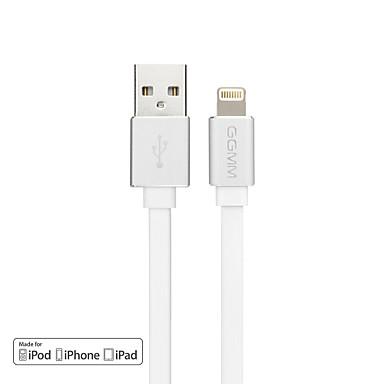 ggmm 1m mfi gecertificeerde bliksem usb-kabel met een wirwar-vrij plat koord en metalen poort (wit)