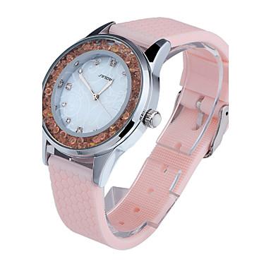 SINOBI Dámské Hodinky na běžné nošení Módní hodinky Křišťálové hodinky  Křemenný Silikon Růžová 30 m Voděodolné 1f95459ce8b