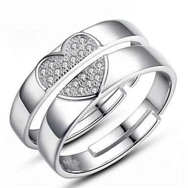 Homens Feminino Casal Anéis de Casal bijuterias Prata de Lei Jóias Para Casamento Festa Diário