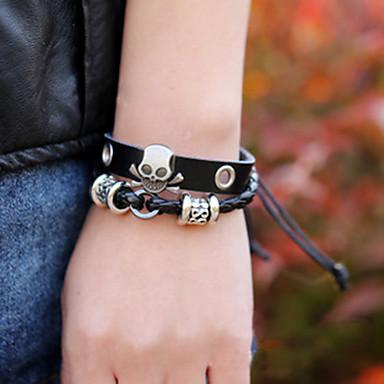Heren Lederen armbanden Sierstenen Leder Legering Doodshoofdvorm Zwart Sieraden Voor Feest Dagelijks Causaal Kerstcadeaus 1 stuks