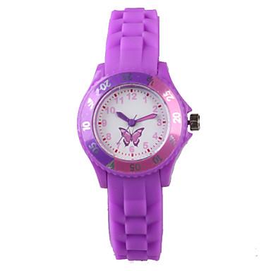 Mulheres Relógio de Moda Relógio Casual Quartzo Impermeável Silicone Banda Borboleta Desenho Roxa