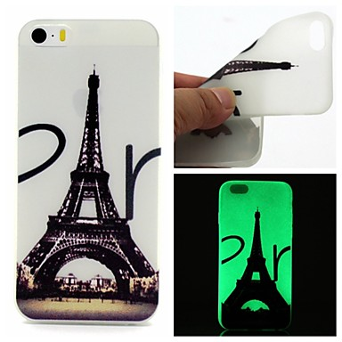 hoesje Voor iPhone 5 hoesje Glow in the dark Achterkantje Eiffeltoren Zacht TPU voor iPhone SE/5s iPhone 5