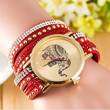 Dames Modieus horloge Kwarts Vrijetijdshorloge Leer Band Zwart Wit Blauw Rood Bruin Groen Paars roze