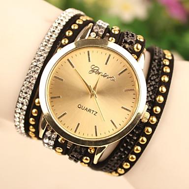 Mulheres Relógio de Moda Bracele Relógio Quartzo Relógio Casual Couro Banda Preta Branco Roxa Branco Preto Roxo