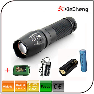 LED-Zaklampen LED 1000 lm 5 Modus Cree XM-L T6 inklusive Batterie und Ladegerät Zoombare Verstelbare focus Schokbestendig Oplaadbaar