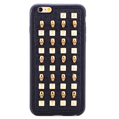 série couro rebite de ouro crânios legal TPU tampa traseira macia para 6s iphone plus / 6 mais