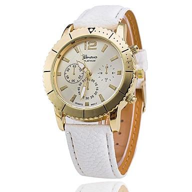 Mulheres Relógio de Moda Quartzo PU Banda Preta Branco Azul Rosa Bege