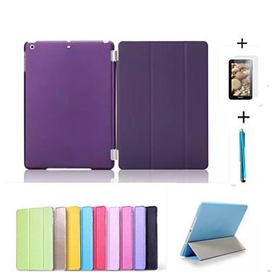 estojo de couro tampa inteligente + pc translúcido caso de volta para Apple iPad mini-3/2/1 + livre filme protector presente + caneta de