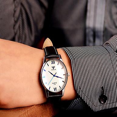 זול שעוני גברים-בגדי ריקוד גברים שעון יד עור שחור / חום שעונים יום יומיים אנלוגי נשים קסם - שחור לבן שחור חום /  לבן שנה אחת חיי סוללה / מתכת אל חלד