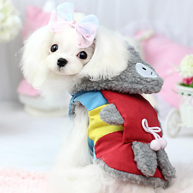 Hond Jassen Hoodies Hondenkleding Houd Warm Modieus Kleurenblok Rood Blauw Kostuum Voor huisdieren