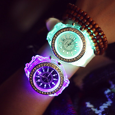 Mulheres Relógio de Moda Relógio Esportivo Quartzo LED Silicone Banda Brilhante Preta Branco