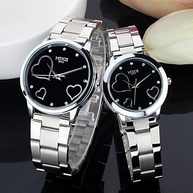 Heren Dames Voor Stel Modieus horloge Kwarts Legering Band Heart Shape Zilver Wit Zwart