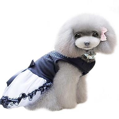 Hond Jurken Hondenkleding Kristal / Bergkristal Zwart Katoen Kostuum Voor huisdieren Dames Modieus