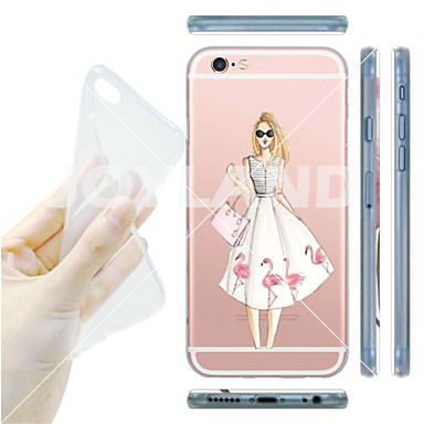 Capinha Para iPhone 6 iPhone 6 Plus Transparente Capa Traseira Desenho Animado Macia TPU para iPhone 6s Plus iPhone 6 Plus iPhone 6s