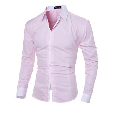 baratos Roupa de Homem Moderna-Homens Camisa Social - Trabalho Negócio / Casual Sólido Algodão Delgado Cinzento L / Manga Longa / Primavera / Outono