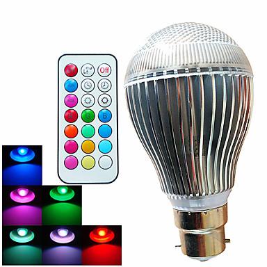 500 lm B22 Lâmpada Redonda LED A60(A19) 3 leds LED de Alta Potência Regulável Decorativa Controle Remoto RGB AC 100-240V