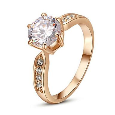 Mulheres Cristal Imitações de Diamante Liga Anel de declaração - Clássico Fashion Prata Dourado Anel Para Casamento Festa
