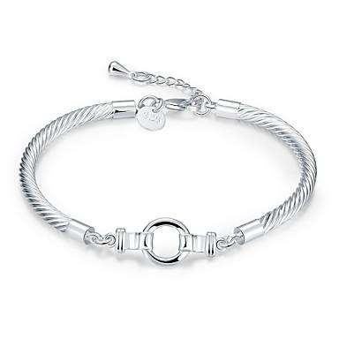 Dames Verzilverd Schattig Armbanden met ketting en sluiting - Eenvoudig Modieus Koreaans Cirkelvorm Geometrische vorm Zilver Armbanden