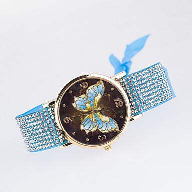 Mulheres Simulado Diamante Relógio Relógio de Moda Relógio Casual Quartzo imitação de diamante Tecido Banda Borboleta Preta Branco Azul